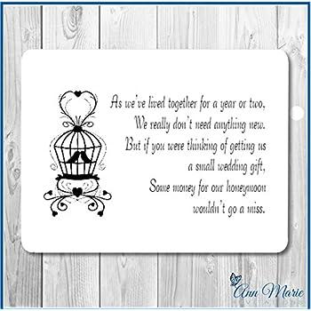 50 Personalised Wedding Money Poemhoneymoon Wish Poems Cardgift