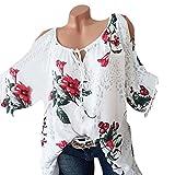 Quaan Mode Frau Plus Größe O-Ausschnitt Bandage Trägerlos Blumen Drücken Bluse T-Shirt Damen Frei von Getreide Oberteile Baumwolle Drucken Übergröße Elegant hochtaillierte Entspannt