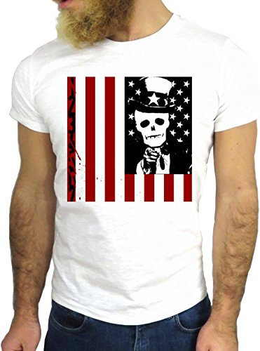 T-SHIRT JODE GGG24 HZ0546 FLAG COOL VINTAGE ROCK FUNNY FASHION CARTOON NICE AMERICA BIANCA - WHITE
