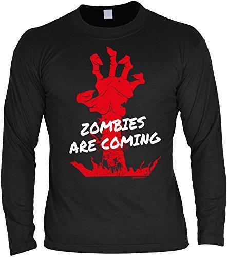 Tini - Shirts Halloween Langarmshirt Männer - Halloweenmotiv - Halloweenspruch : Zombies Are Coming - Herren Longsleeve Zombie Hand Monster Gr: 3XL