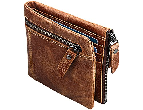 iSuperb Portafoglio Magico RFID Porta Carte di Credito Pelle Portamonete con Cerniera Wallet Slim per Uomo 11.5x9.8x2.5cm