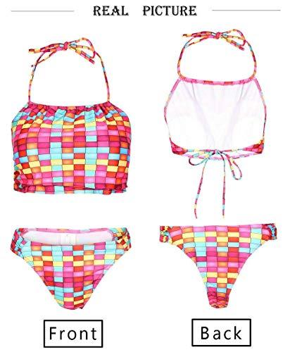 BRDOGD Badeanzug Bikini Plaid Lady Bikini Set Bandage Badeanzug Erhöhen Verdicken BH Schwimmen Sommer Strand Badeanzug, Multi, S (Korsett Oben Schwimmen)