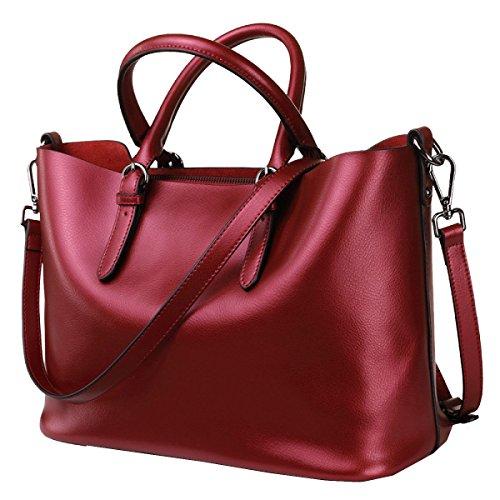 Yy.f Nuove Borse Borse In Pelle Casual Semplice In Pelle Perla Grande Sacchetto Portatile Multicolore Red