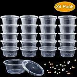 Slime Box Behälter, 24 Packs Slime Aufbewahrungsbehälter mit Deckels Auslaufsicher klarem Kunststoff Floam Beads Behälter