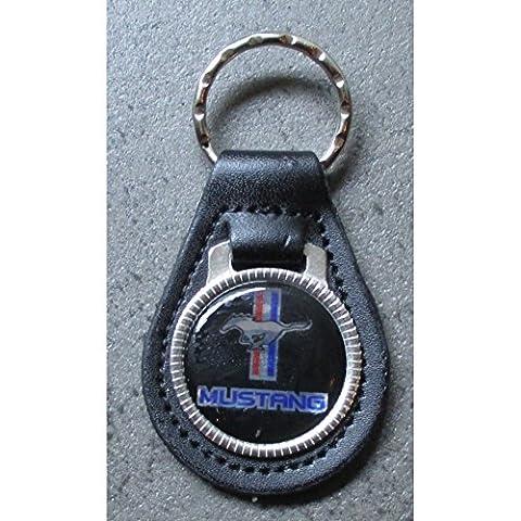 hotrodspirit - porte clé métal cuir ford mustang cheval sur fond noir auto