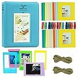 Cpano Coloré Bundle Set accessoires pour Fujifilm Instax Mini caméra, pignon HP, Polaroid Zip, Snap, Snap Touch Films d'imprimante avec des autocollants de film, Album et cadre (Bleu)