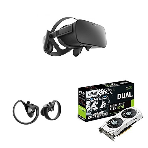 Price comparison product image Oculus Rift VR Headset + Touch Controller + ASUS NVIDIA GeForce GTX 1070 8 GB DUAL OC White VR Ready Graphics Card - Black
