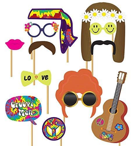 Kostüm 1970 Party (1970s Jahre Hippie Hippy Party Foto Booth Selfie Spaß Requisiten Kostüm Zubehör)