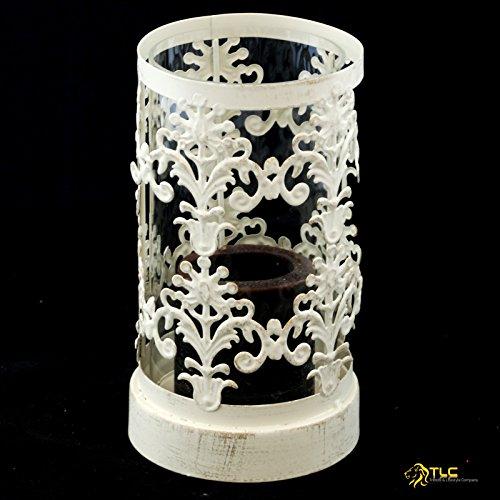 TLC Laterne - Windlicht Glas Metall 20cm, Creme Gold gebrushed, chabby chic, Vintage NEU M-14