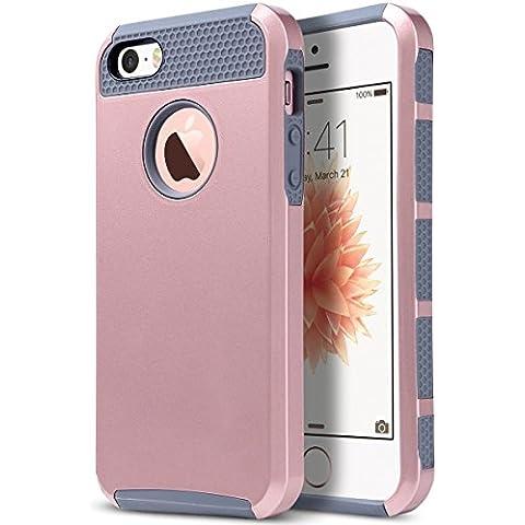 ULAK -Carcasa iPhone 5 /5s/se funda caso de silicona TPU de doble espesor y protector de pantalla para iPhone 5 / 5S/se (Rosa