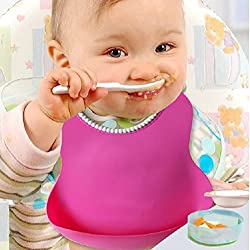 New Style Baby Silicone Bib Stereo Disposable Bib Kids Bibs Children Pick Rice Pocket Cute Boys (Multi)