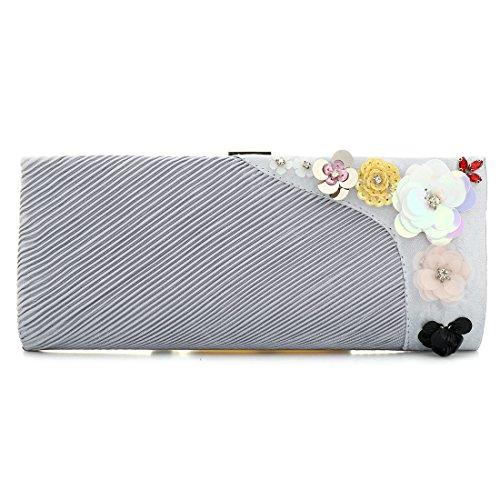 YYW Pleated Clutch Bag, Poschette giorno donna Silver