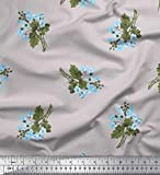 Soimoi Grau Seide Stoff Blätter & Cinquefoil Blume Stoff