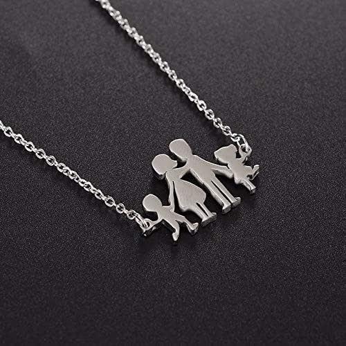 Collana famiglia family con sagoma famiglia in acciaio inossidabile, regolabile. Handmade, realizzato a mano,