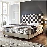 Boxspringbett Miami beige braun Hotelbett Doppelbett Taschenfederkern mit Topper Designer Bett (180 x 200 cm)
