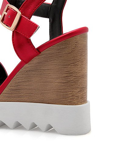 UWSZZ IL Sandali eleganti comfort Scarpe Donna-Sandali-Ufficio e lavoro / Formale-Zeppe / Aperta-Zeppa-Felpato-Nero / Rosso / Bianco / Grigio gray