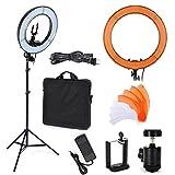 48 cm, zweifarbig, LED-Ring, Licht mit 160 cm Stativ, Adapter, Telefon-Clip, Transporttasche, für Selfie-Make-up, Youtube, Foto, Porträt, Aufnahmeschutz