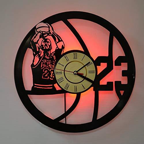 Yushufang Jordan Vinyl Record Wanduhr, Kreative Retro Led Nachtlicht Wanduhr Wohnzimmer Schlafzimmer Dekoration Stille Uhr - Mit Licht Ruhiges Bad-fan