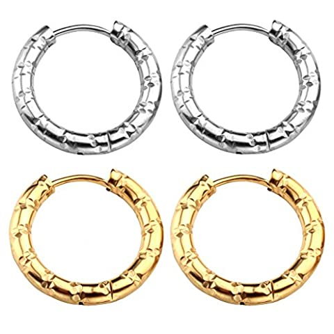 JOVIVI 4pcs Womens Stainless Steel Silver Gold Round Tube Bamboo Circular Small Hoop Earings