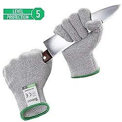 Twinzee Schnittschutzhandschuh 1 Paar (Large) - Extra Starker Level 5 Schutz, Lebensmittelecht, EN 388 Zertifiziert