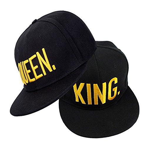 Snapback Paare Mützen KING QUEEN Cap Baseballmütze Für Liebhaber Paare Bestickte Rapper Cap - 2 Stück(Typ 2)