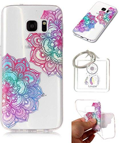 Preisvergleich Produktbild Hülle Galaxy S7 edge (5.5 zoll) Hülle, Samsung Galaxy S7 edge (5.5 zoll) Hülle TPU Case Schutzhülle Silikon Case,Niedliche Cartoon Malerei Durchsichtige Rückschale und TPU Bumper Handy Tasche Case Cover Etui für Samsung Galaxy S7 edge (5.5 zoll) + Schlüsselanhänger (I) (5)