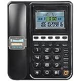 Xia Xia Schnurgebundenes Telefon mit Freisprecheinrichtung/Sprachübertragung, Extra Laut, Doppelanschluss (Farbe : Black)