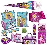 Familando Scooli Schulranzen-Set Disney Princess Rapunzel 22-TLG. mit Brotzeit-Dose, Trink-Flasche,...