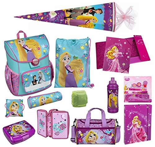 Familando Scooli Schulranzen-Set Disney Princess Rapunzel 22-TLG. mit Brotzeit-Dose, Trink-Flasche, Sporttasche, Schultüte 85cm und Regenschutz