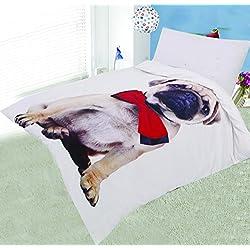 Juego de funda de edredón y funda de almohada para cama doble (algodón natural, 120 x 150 cm), diseño de carlino