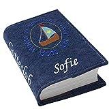 Gotteslob Gotteslobhülle Mit Jesus zusammen in einem Boot Filz mit Namen bestickt hellgrau weiß dunkelgrau blaugrau dunkelblau türkis maigrün flieder, Farbe:dunkelblau meliert