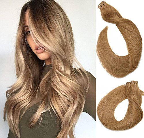 Tape in Echthaar Extensions Haare 18 Zoll/45cm #12 Gloden Brown 40g / 20PCS Brazilian Remy Hair Tape-in Haarverlängerungen seidige gerade Haut einschlag menschlichen Remy Haar