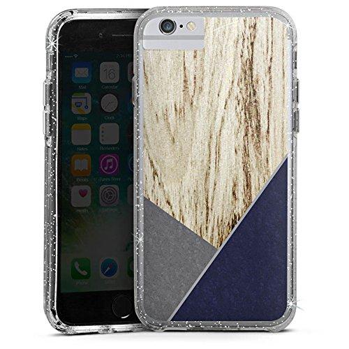 Apple iPhone 6 Bumper Hülle Bumper Case Glitzer Hülle Wood Holz Modern Bumper Case Glitzer silber