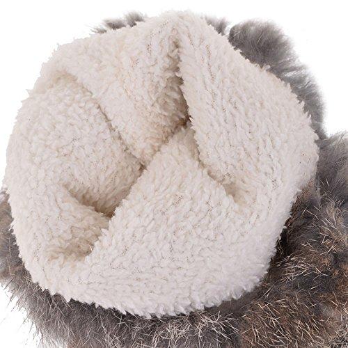 TAOFFEN Damen Winter Warm Flache Lange Stiefel Warm Schneestiefel Mit Wolle Beige