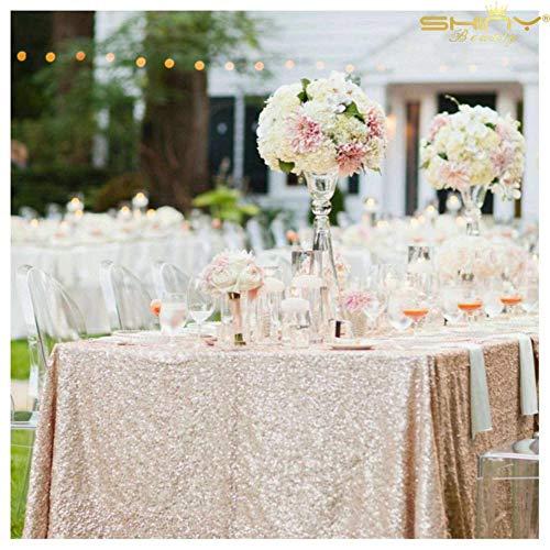 48 Zoll Breite Rechteckiger Tisch (ShinyBeauty Champagner Rechteck Tischdecke 150x350cm Champagner Pailletten Tischdecke Elegante Events,60x140-Inch)