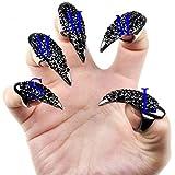 WINOMO 10st 3 Größen Gothic Punk-Stil falsche Nägel Krallen Pfote Talon Finger Ringe Cosplay Dekoration (schwarz)