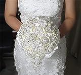 Pavian Ausgezeichnete Blickfang Stil Wasserfall glänzend Luxus verdeckt Diamant Broschen Hochzeit Bouquet Braut Halten Blumensträuße Elfenbeinfarben