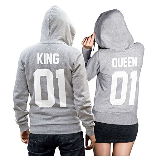 #King Queen 01 SET 2 Hoodies Pullover Pulli Liebe Love Pärchen Couple Grau (King Gr. M + Queen Gr. S)#