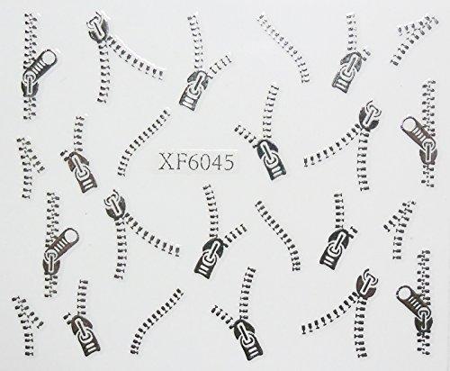 Nail art - Stickers autocollants - fermeture éclair argentée