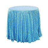 YFCH Rund Pailletten-Stoff Tischtuch Tischdecke Tischwäsche für Geburtstage Hochzeit Party Event, Eislau, ø 275cm