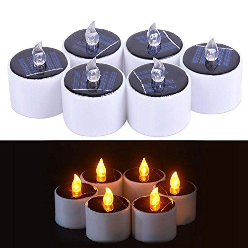 KOBWA 6 Stück LED-Kerzen romantische Wasserdichte Lichterkette für Camping Reisen Outdoor Home Party Dinner Dekoration Style B