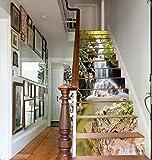 3D Wasserfall Natürlich Landschaft Selbstklebend Treppe Aufsteher Wandmalerei Vinyl Abziehbild Tapezieren Aufkleber 39.3Zoll x7.08Zoll x 13stücke