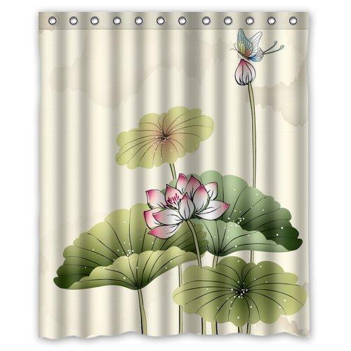 CHATAE Custom Chinesische asiatischen Polyester-Wasserdicht-152,4cm (W) X 182,9cm (H) Dusche Vorhang und Haken