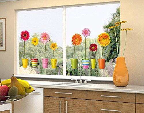 Fenstersticker Gerberatöpfe B x H: 40cm x 18cm von Klebefieber®