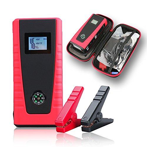 Indigi®-in Pocket Power Bank 12000mAh Extern Ladegerät Extern Batterie AKKU Mobile Instant Auto Jump Starter (rot) (Instant Starter Jump Power)