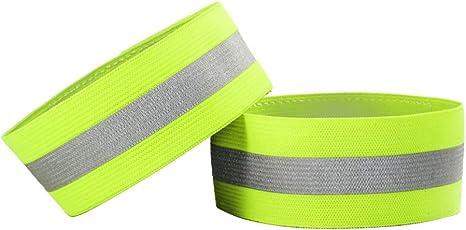 SWECOMZE 4er Set Reflektorband Elastisch Neon-Gelb,Reflektor Armband mit Klettverschluss Reflexband Sicherheit Kinder Fahrrad