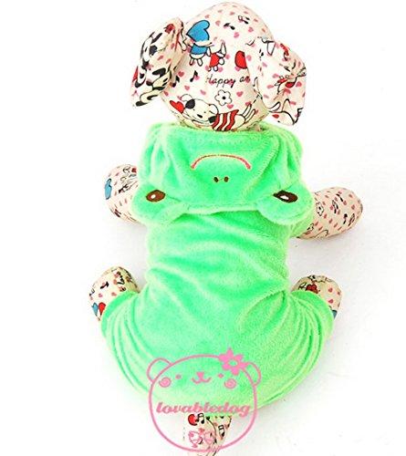 zunea Pet Frosch Kostüm für kleine Hunde Samt -