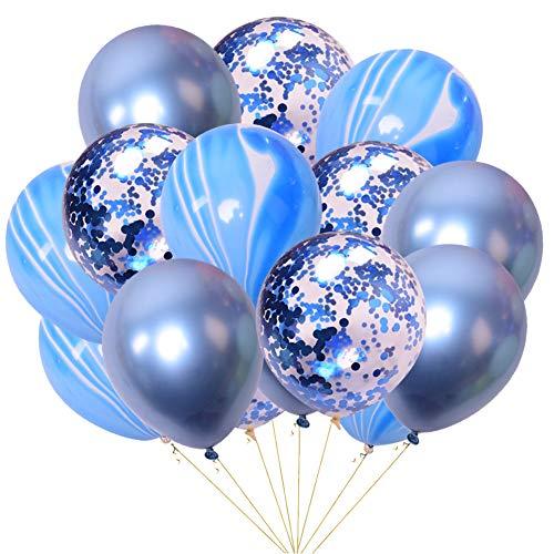 Ruiting Globo de Látex,Globo de Confeti Conjunto de 15 PCS/12in Globos de Helio Decoreciòn de Boda,Aniversario,Cumpleaños y Fiesta(Azul)