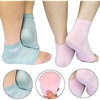 AYAOQIANG puntera abierta Hidratante Gel de silicona talón calcetines, calcetines de Spa para secado duro agrietada piel -2 par