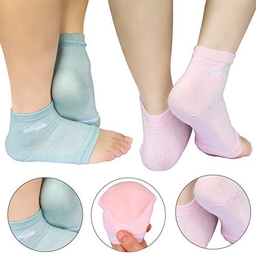 AYAOQIANG Feuchtigkeitsspendende offene Zehe Silikon Gel Fersen Socken, Spa Socken für trockene harte gebrochene Haut -2 Paar (rosa und grün) (Zehen Spa)
